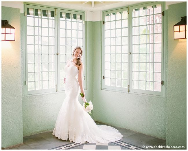 Bride in the solarium at Laguna Gloria in Austin.