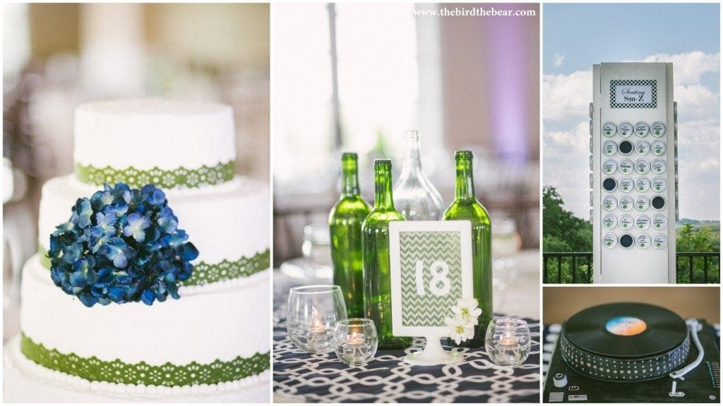 Wedding cake with green ribbon and blue flower.