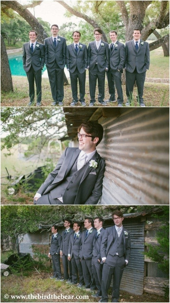 Groom and groomsmen standing by the barn at Kendall Plantation.