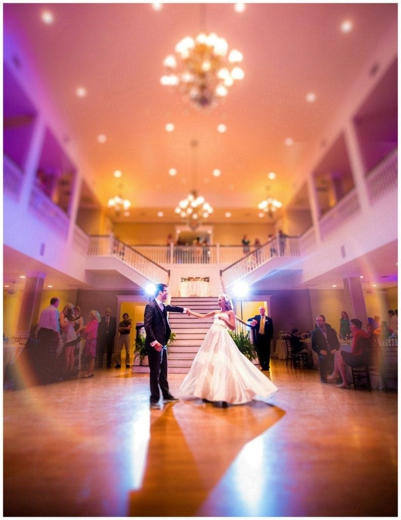 Bride and groom dancing their first dance at Kendall Plantation.