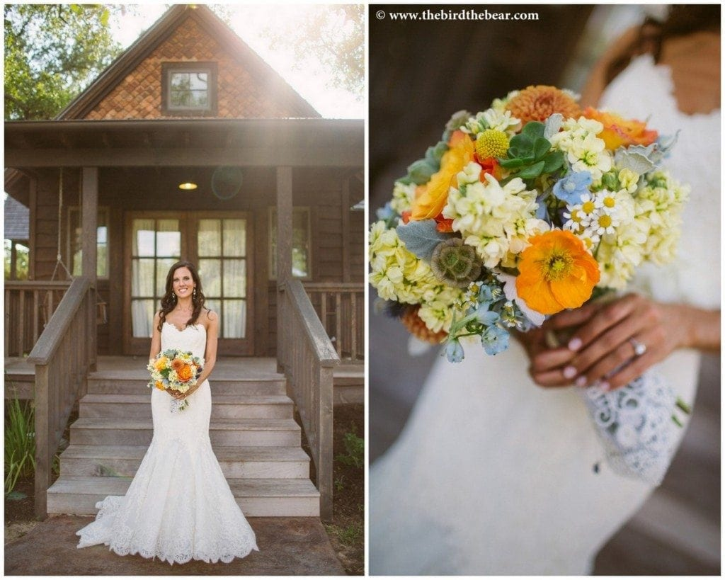 Bride holding bouquet at the bridal cottage before her wedding at Camp Lucy.