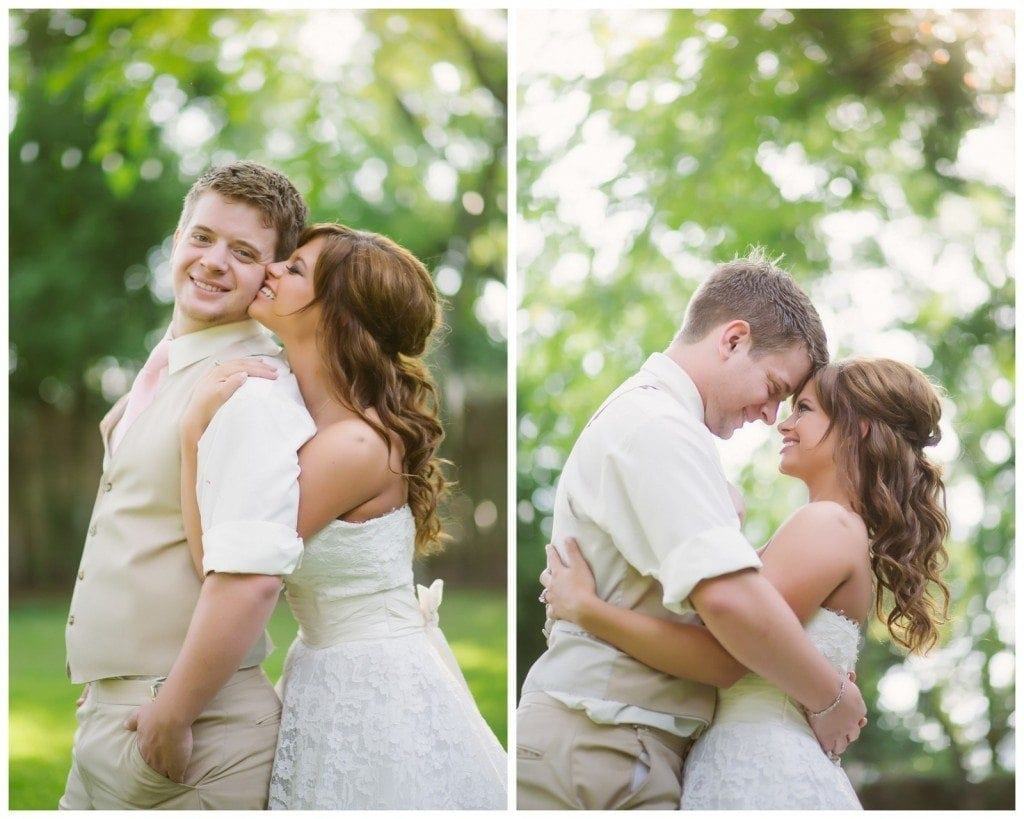 Bride and groom kiss outside after their Oak Tree Manor wedding in Spring.