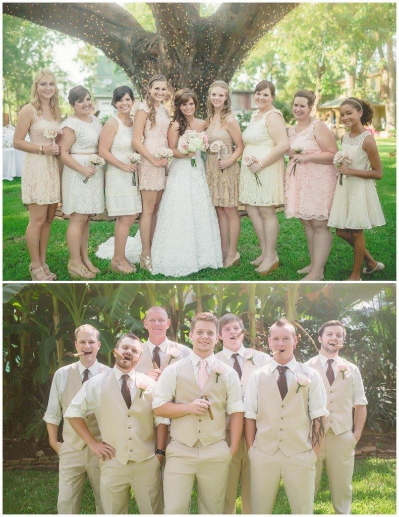 The bridesmaids and groomsmen smile together for portraits after a wedding at Oak Tree Manor.