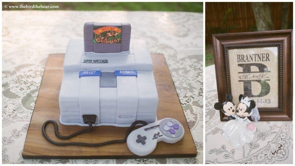 A groom's Donkey Kong Nintendo cake at his wedding reception.