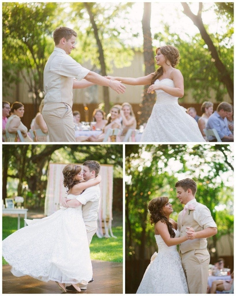 The bride and groom's first dance outside in the late afternoon at Oak Tree Manor in Spring, TX.
