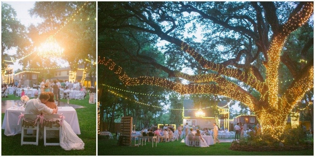 Night time under the large tree at a wedding reception at Oak Tree Manor in Spring, TX.