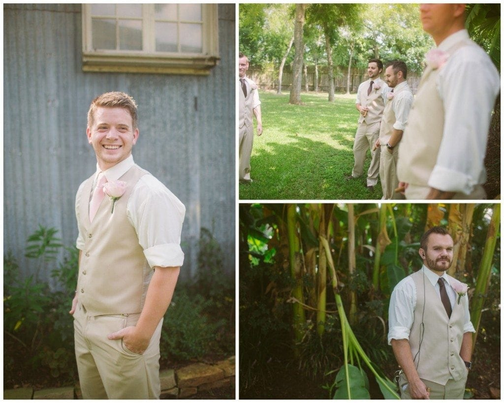 The groom and groomsmen get ready before the wedding at Oak Tree Manor.