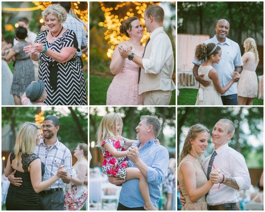 Wedding guests dance at twilight during the wedding reception at Oak Tree Manor.