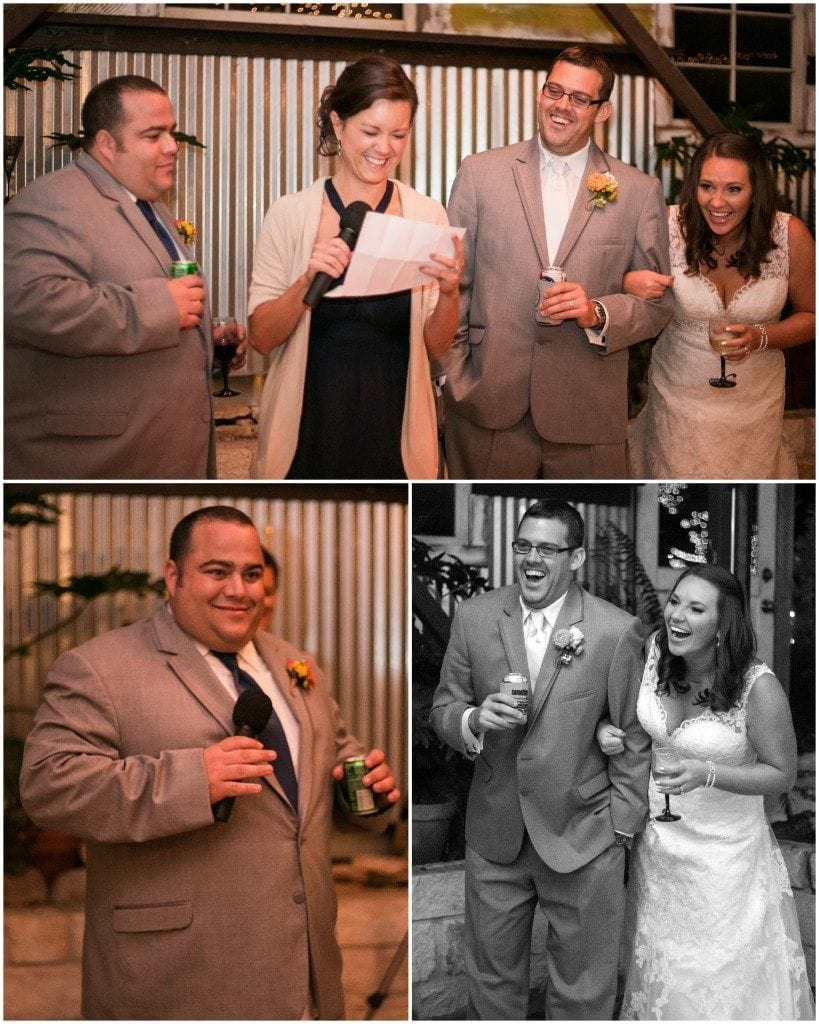 The best man and maid of honor give toasts to the bride and groom at their Inn at Wild Rose Hall wedding reception.