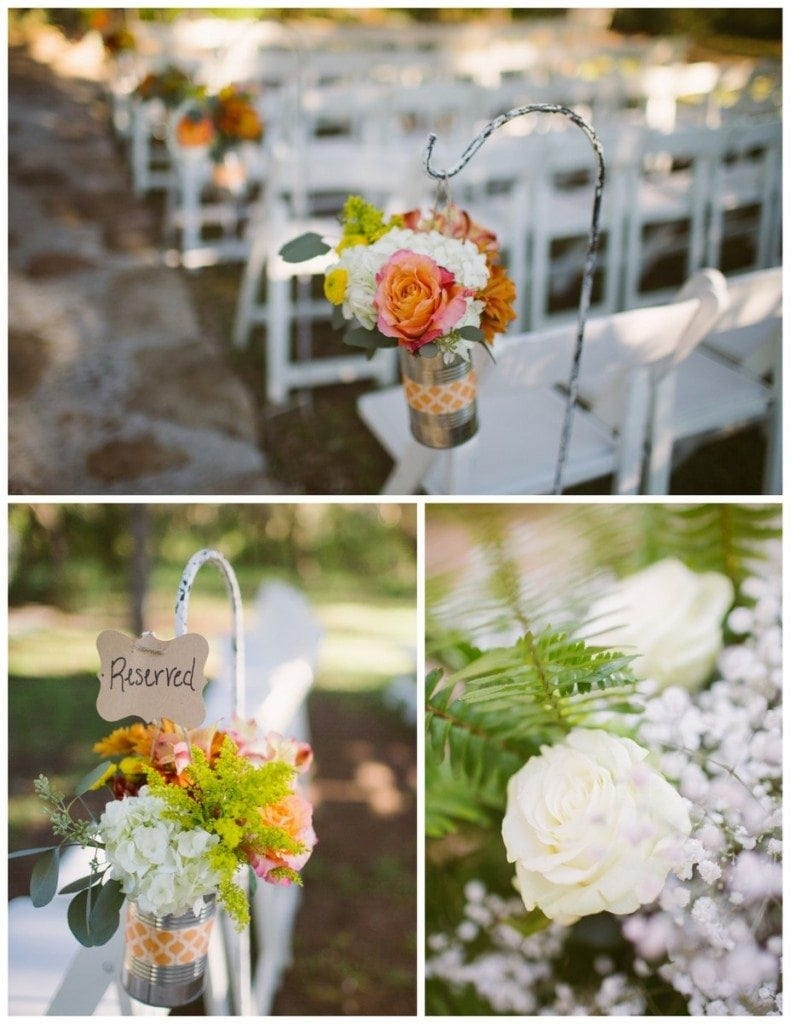 Flowers hang from the chairs at the ceremony site at the Inn At Wild Rose Hall.