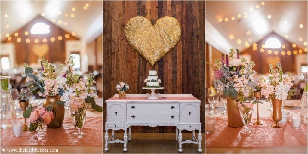 Wedding reception decor at the Heritage House in Dripping Springs, TX.