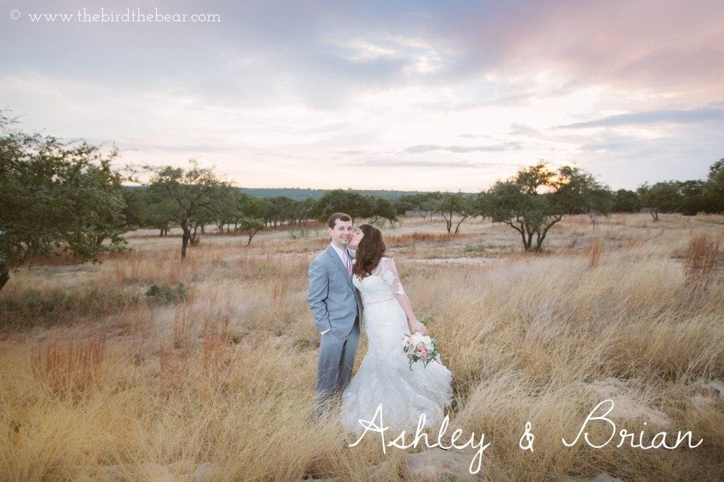 Bride and groom at sunset at the Heritage House in Dripping Springs,  TX.