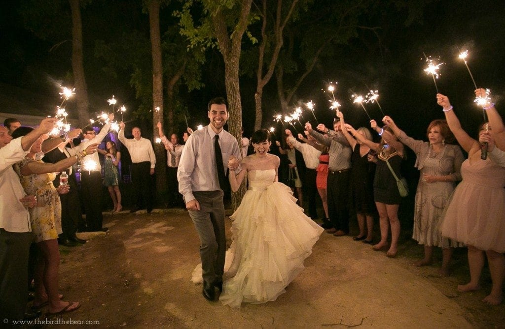 Sparkler Exit at wedding reception at the hummingbird house in austin, tx.