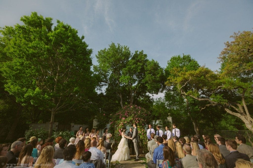 Wedding ceremony at the Hummingbird House in Austin, tx.