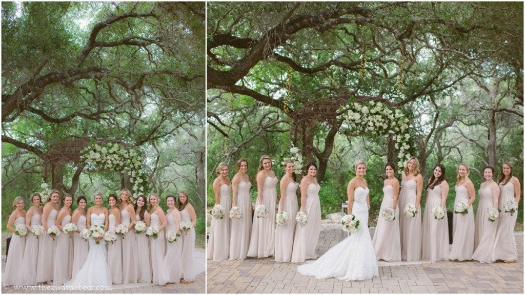 Bridesmaids under the trees at Sacred Oaks Camp Lucy