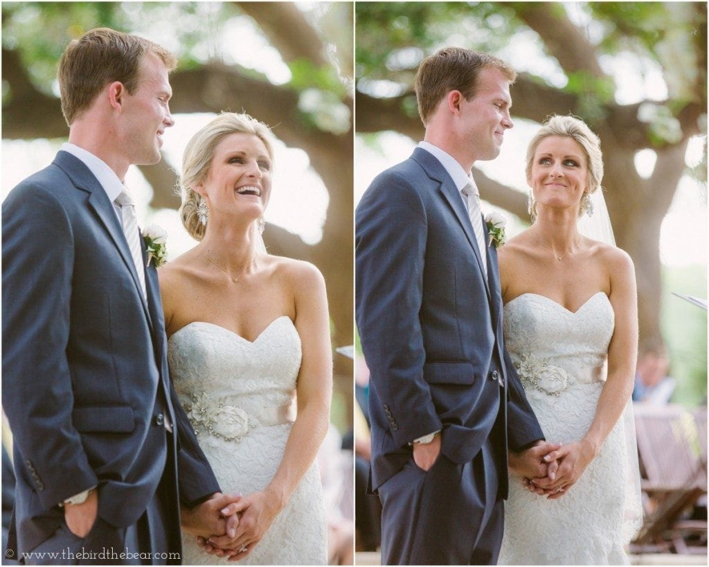 The bride and groom laugh together during their wedding ceremony at Sacred Oaks at Camp Lucy.