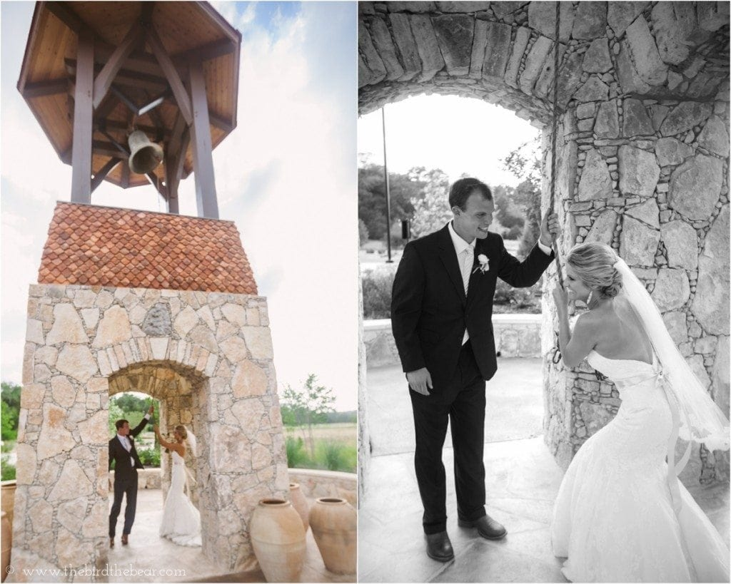 The bride and groom ring the wedding bell after their ceremony at Sacred Oaks at Camp Lucy.