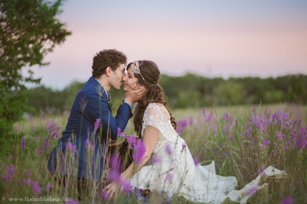 vintage bride and groom at sunset at the winfield inn in kyle tx