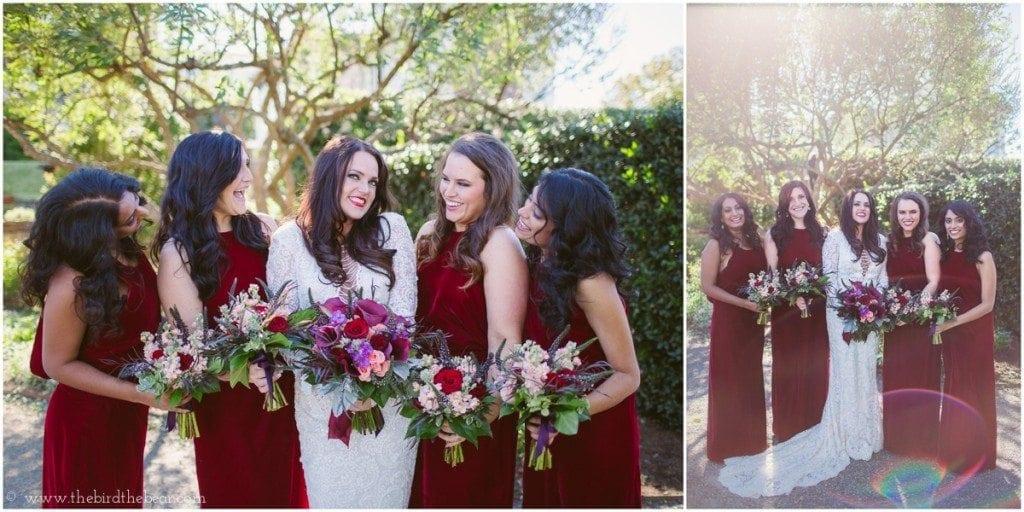 dark red velvet bridesmaids dresses