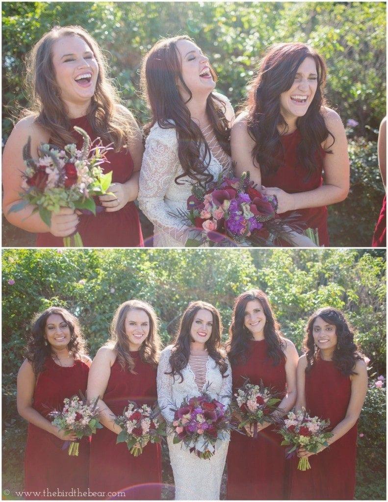 red velvet bridesmaids dresses