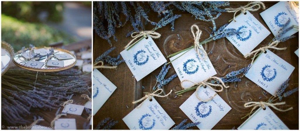 Lavender escort cards for wedding