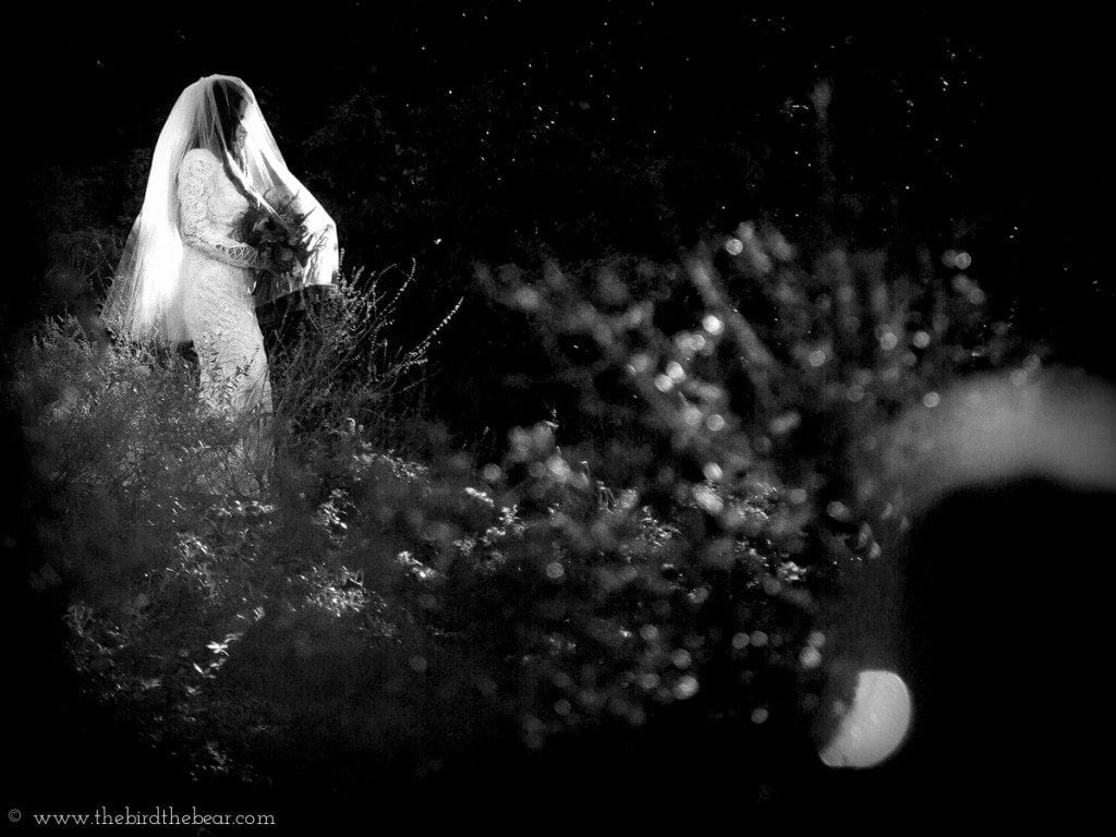 Bride walks down the aisle during her wedding ceremony at Moss Mountain Farm in Little Rock.