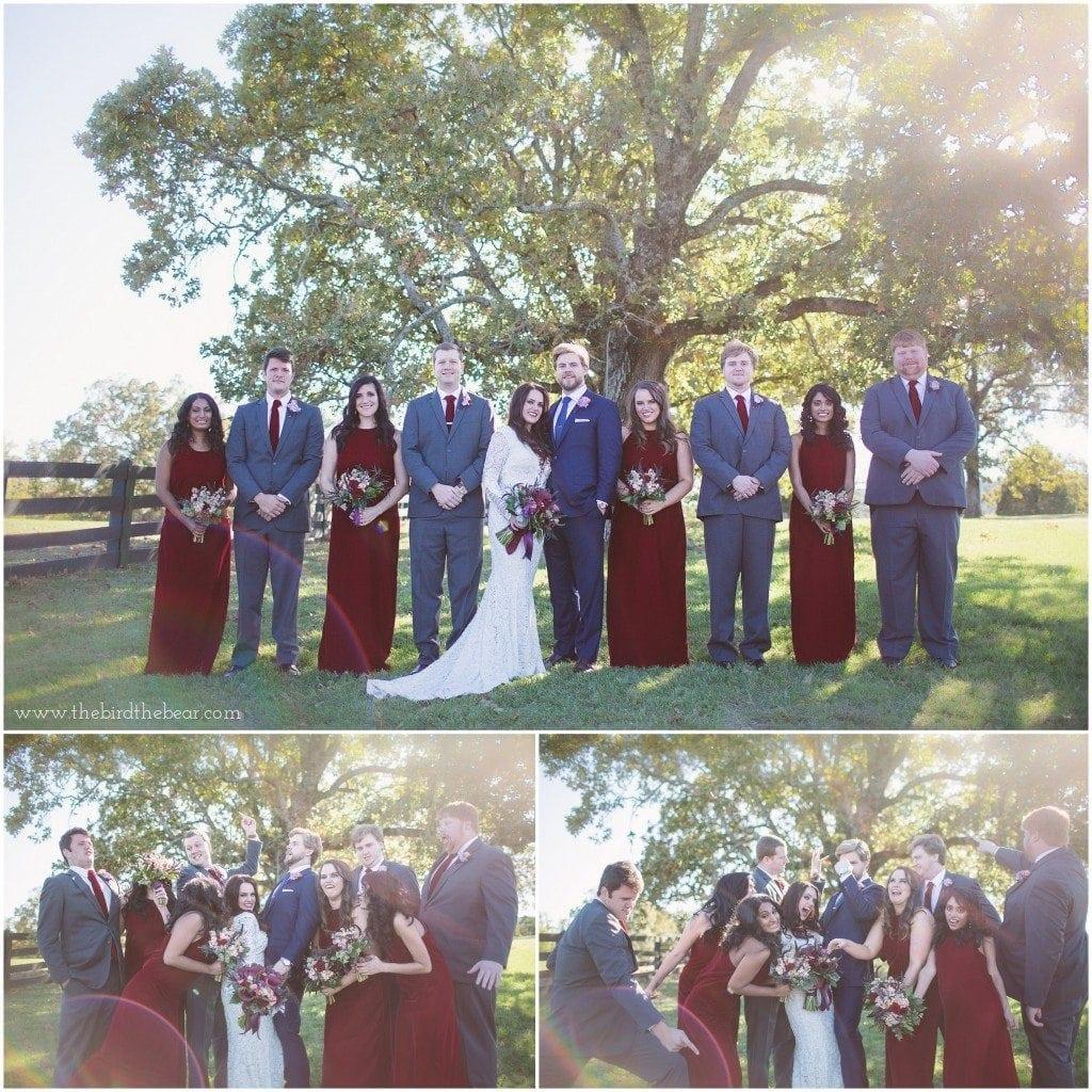 bridal party at moss mountain farm in little rock, arkansas