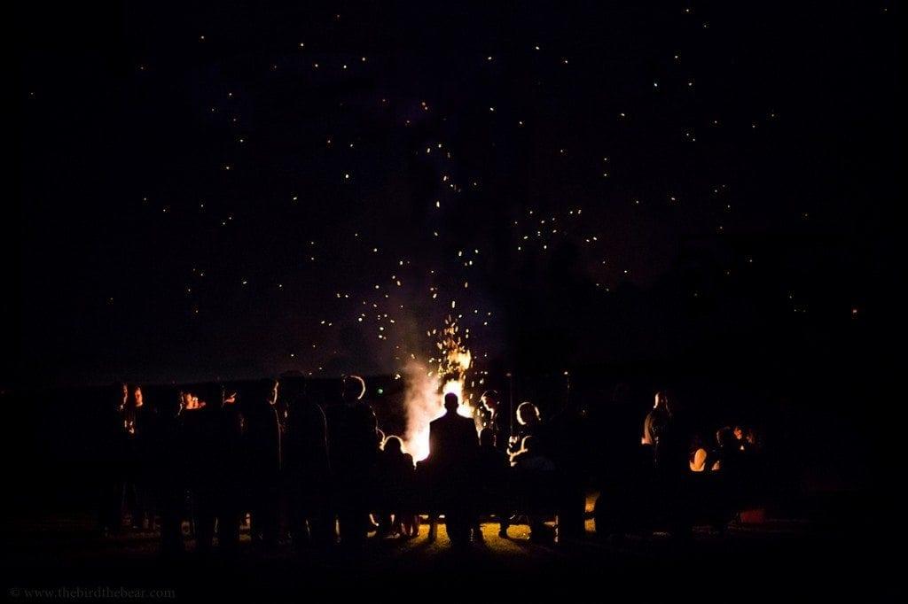epic bonfire at wedding reception