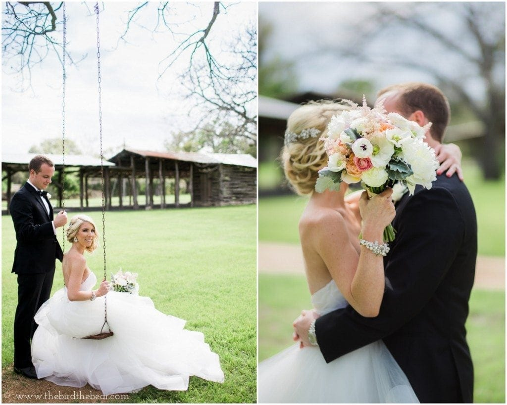 Beautiful bride and groom kiss behind the bouquet at their pecan springs ranch wedding in austin, tx.