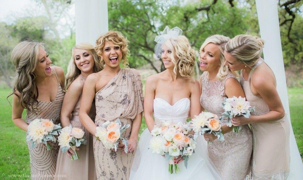 glam bridesmaids in gold sequin dresses