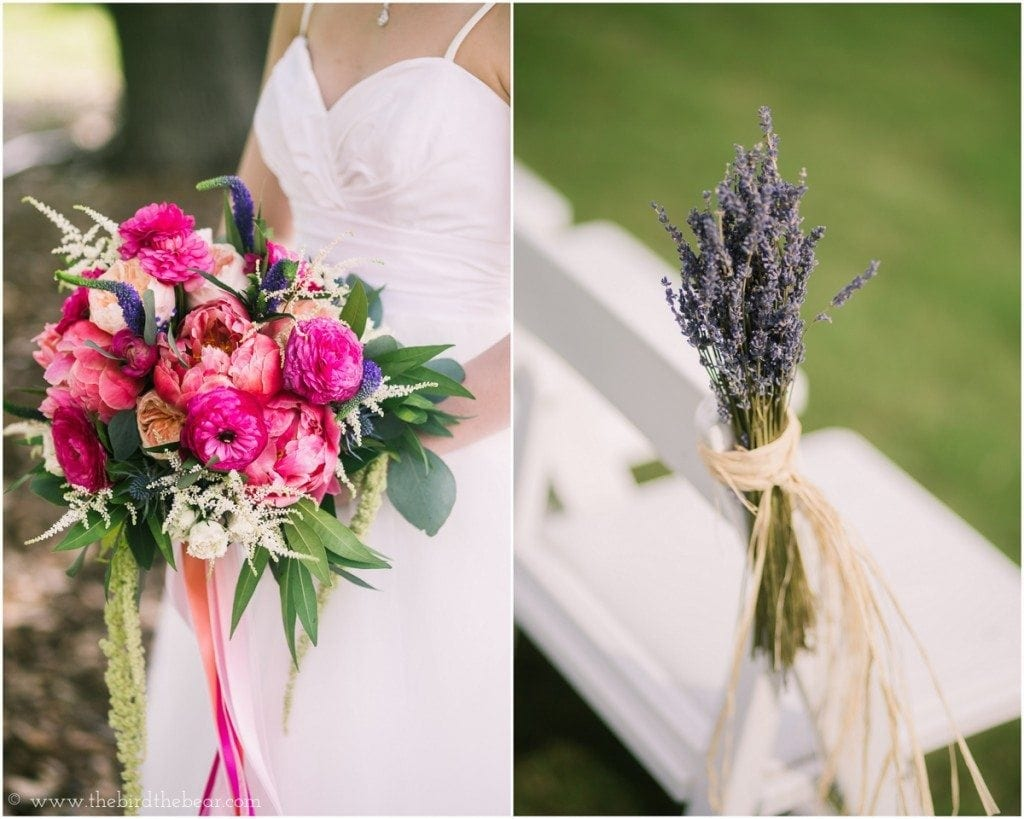Lavender flowers tied to the chairs on the aisle at a wedding.