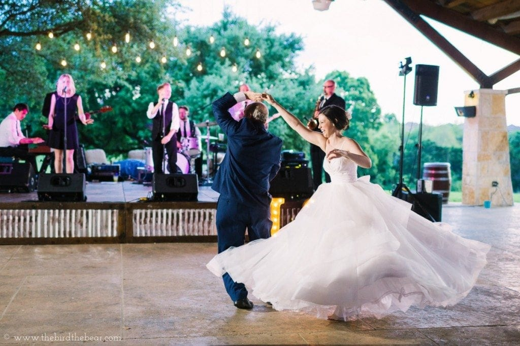 The father dances with his daughter at her wedding at the UT Golf Club in Austin, TX.