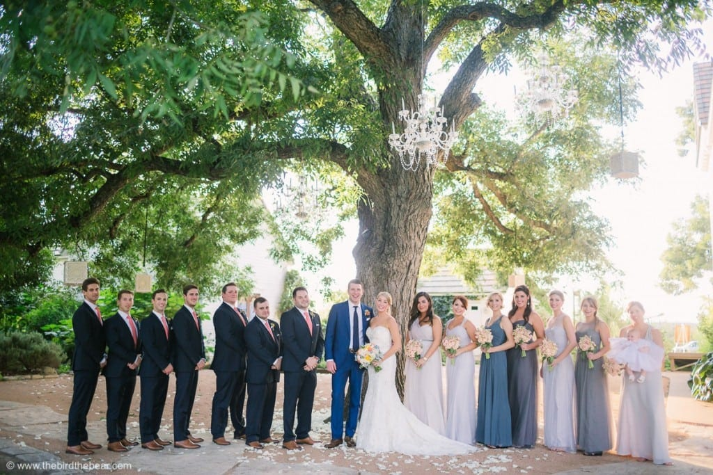 Bridal Party under a beautiful tree