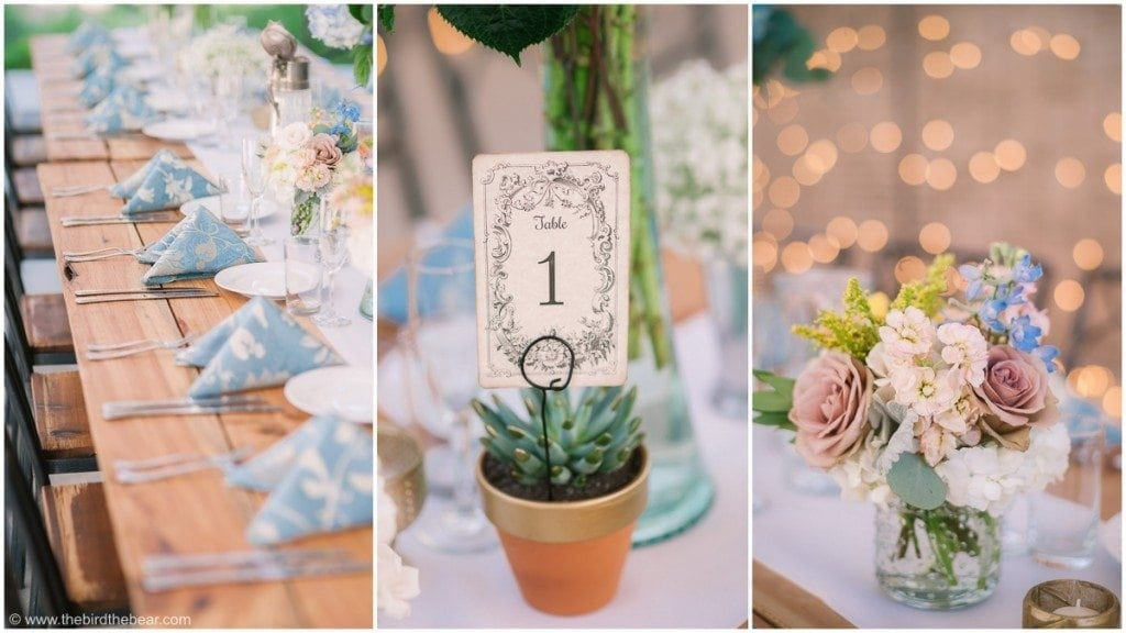 Succulent table cards for wedding reception