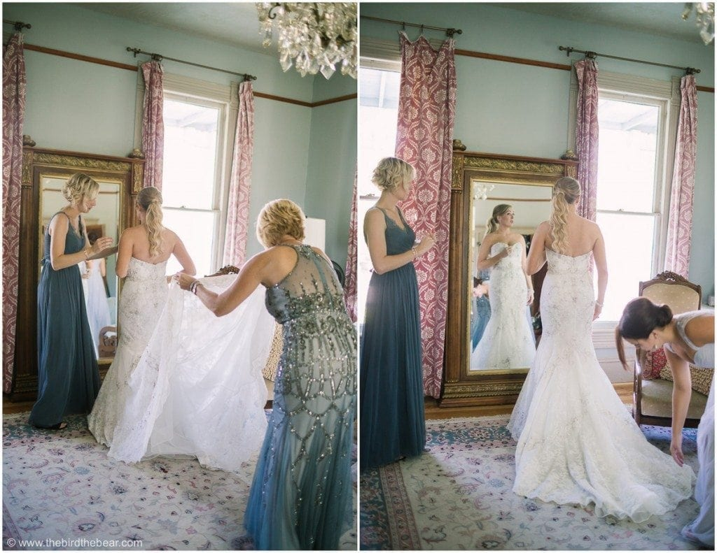 Wedding Dress inspected by mother of the bride