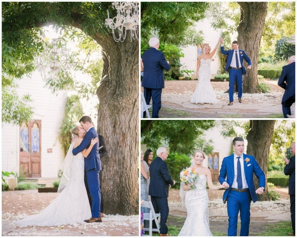 Beautiful wedding ceremony underneath a large tree at Barr Mansion in Austin, TX.