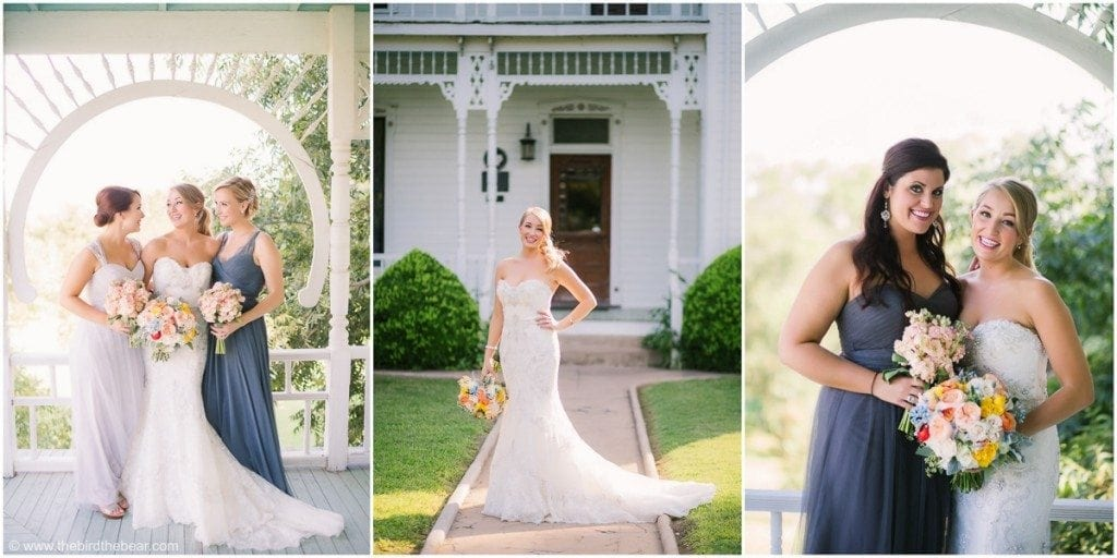 Bride takes portraits with her bridesmaids